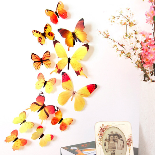 kit adesivo borboletas 3d parede cola pvc 60un decoração