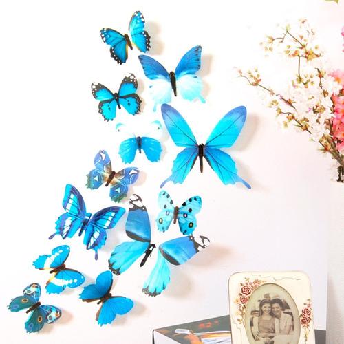 kit adesivo borboletas 3d parede decoração cola pvc cores 24un