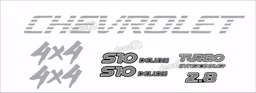 kit adesivo chevrolet s10 4x4 2000 prata 5 peças s10kit33