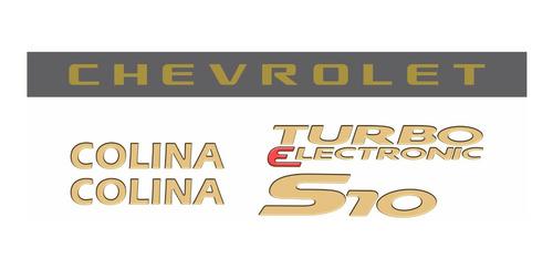 kit adesivo chevrolet s10 colina 2007 dourado s10kit50