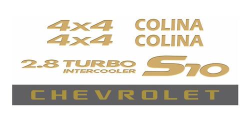 kit adesivo chevrolet s10 colina 4x4 2006 dourado s10kit41