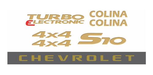 kit adesivo chevrolet s10 colina 4x4 2007 dourado s10kit47