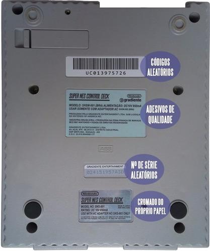 kit adesivo console super nintendo labels snes etiqueta fita