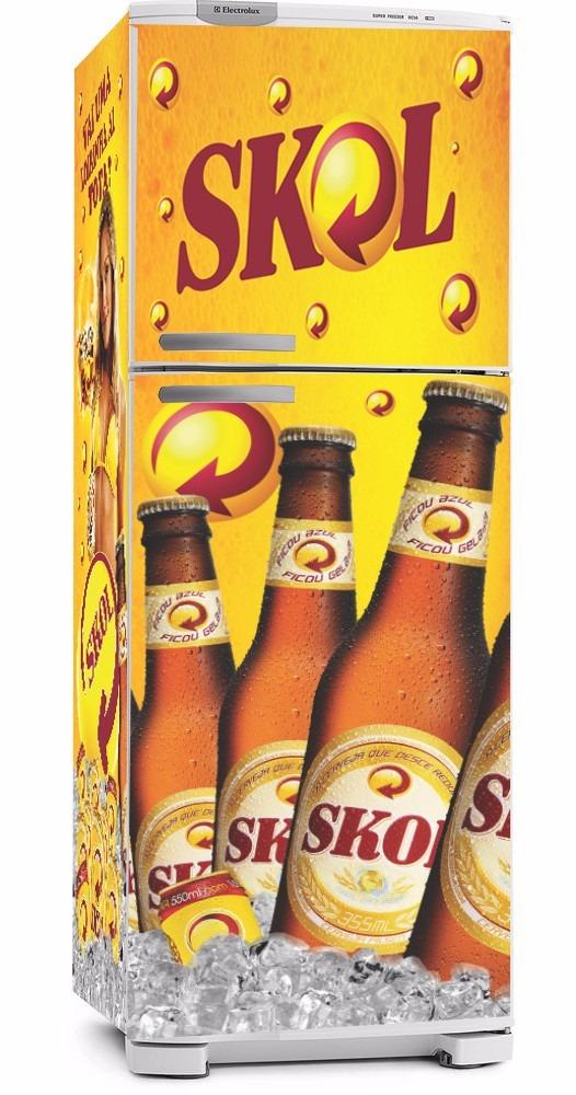 Adesivo De Natal Para Vidro ~ Kit Adesivo Envelopamento Geladeira Cerveja Skol Brahma