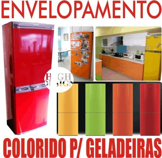 Aparador De Sofa Em Ingles ~ Kit Adesivo Envelopamento Geladeira Várias Cores Vermelho R$ 109,90 em Mercado Livre