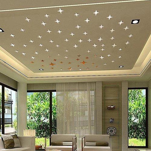 kit adesivo estrelas espelhadas parede prateada - 50 peças