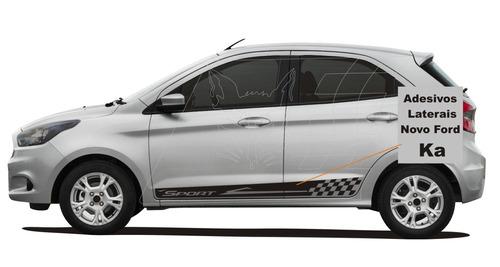 kit adesivo faixa lateral novo ford ka hatch sedan esportivo