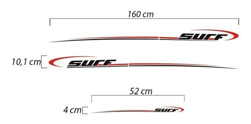 kit adesivo faixa lateral saveiro parati surf preto verm. 08
