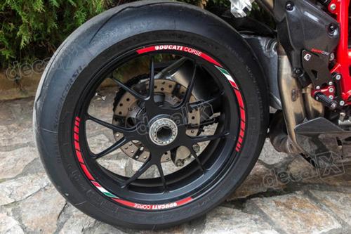 kit adesivo friso refletivo roda moto ducati corse fri25