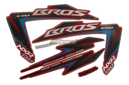 kit adesivo jogo faixa moto honda bros 150 2012 esd vermelha