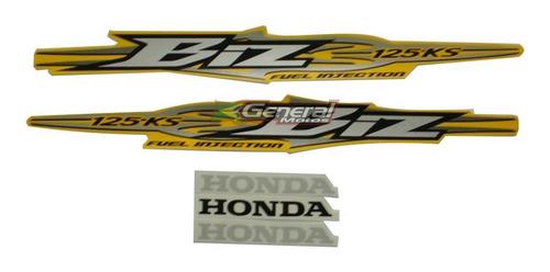 kit adesivo jogo faixas moto honda biz 125 2009 ks amarela