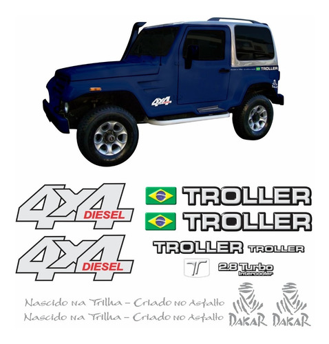 kit adesivos emblema troller t4 4x4 diesel 2.8 turbo intercooler 2004 completo carro azul trl032