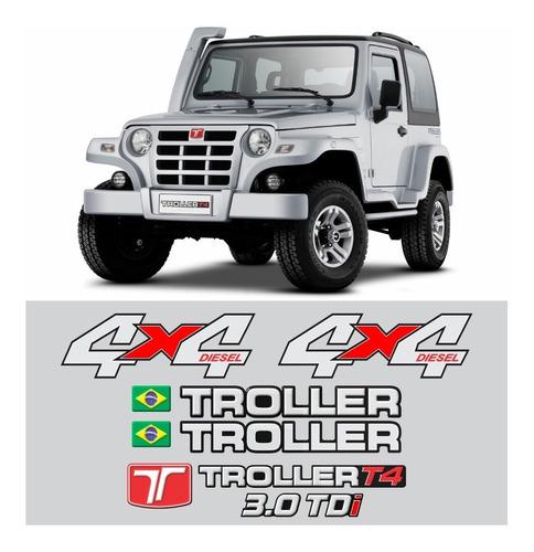 kit adesivos emblema troller t4 4x4 diesel 3.0 tdi 2011 completo carro prata trl09