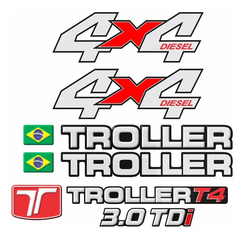 kit adesivos emblema troller t4 4x4 diesel 3.0 tdi 2012 completo carro verde trl09