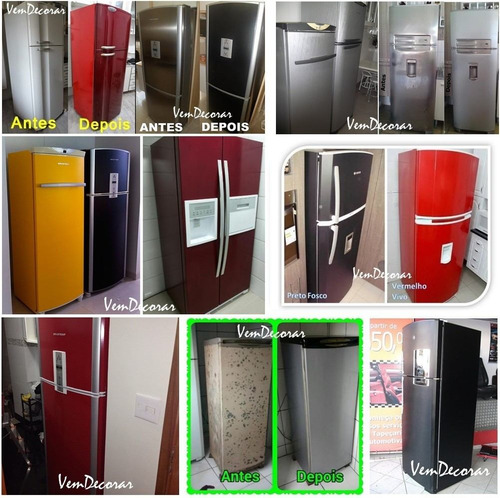 kit adesivos - envelopamento de geladeira - frete grátis
