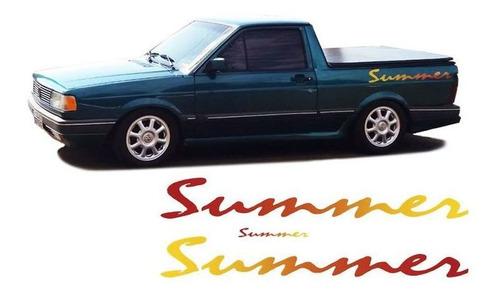 kit adesivos faixa lateral saveiro summer + adesivo traseiro