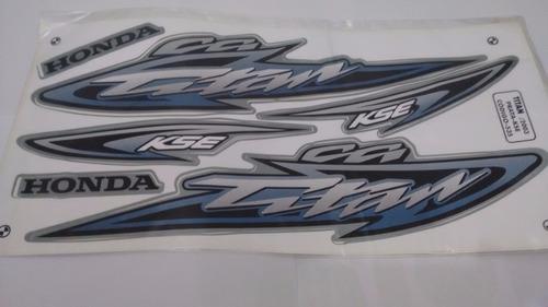kit adesivos faixas  honda cg 125 titan kse 2003 - prata