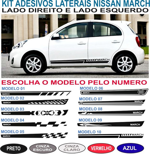 kit adesivos nissan march sport lateral