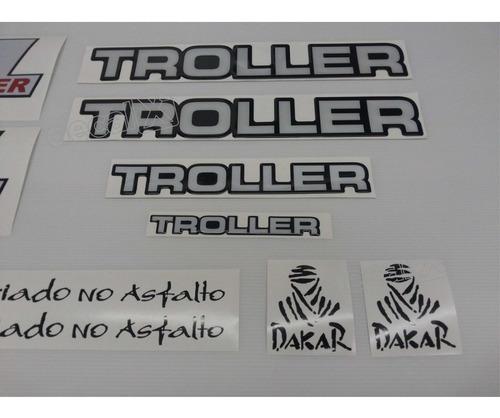 kit adesivos resinados troller 2000 gasolina prata trlg002