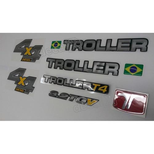 kit adesivos resinados troller 2013 preto trl13