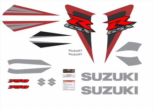 kit adesivos suzuki gsxr 750 2006 preta e vinho 75006pv