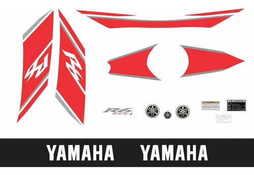 kit adesivos yamaha r6 2008 branca e vermelha r608bv
