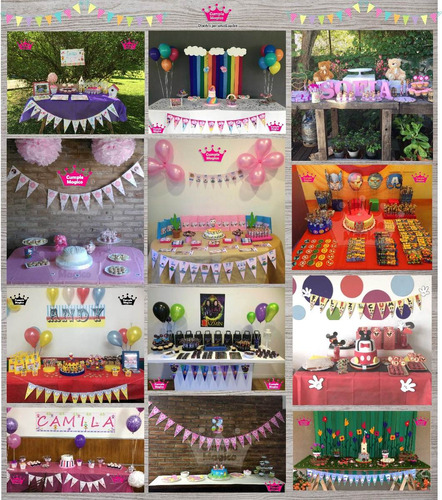kit adhesivos candy bar + kit decoración impreso x 20