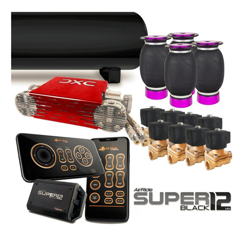 kit air ride super black 1/2 p/ carros sem torre - castor