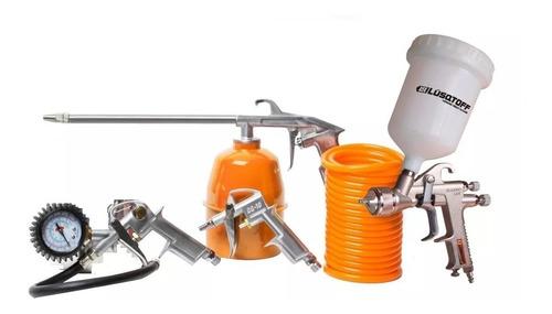 kit  aire compresor 5 piezas inflador pistola pintar rex