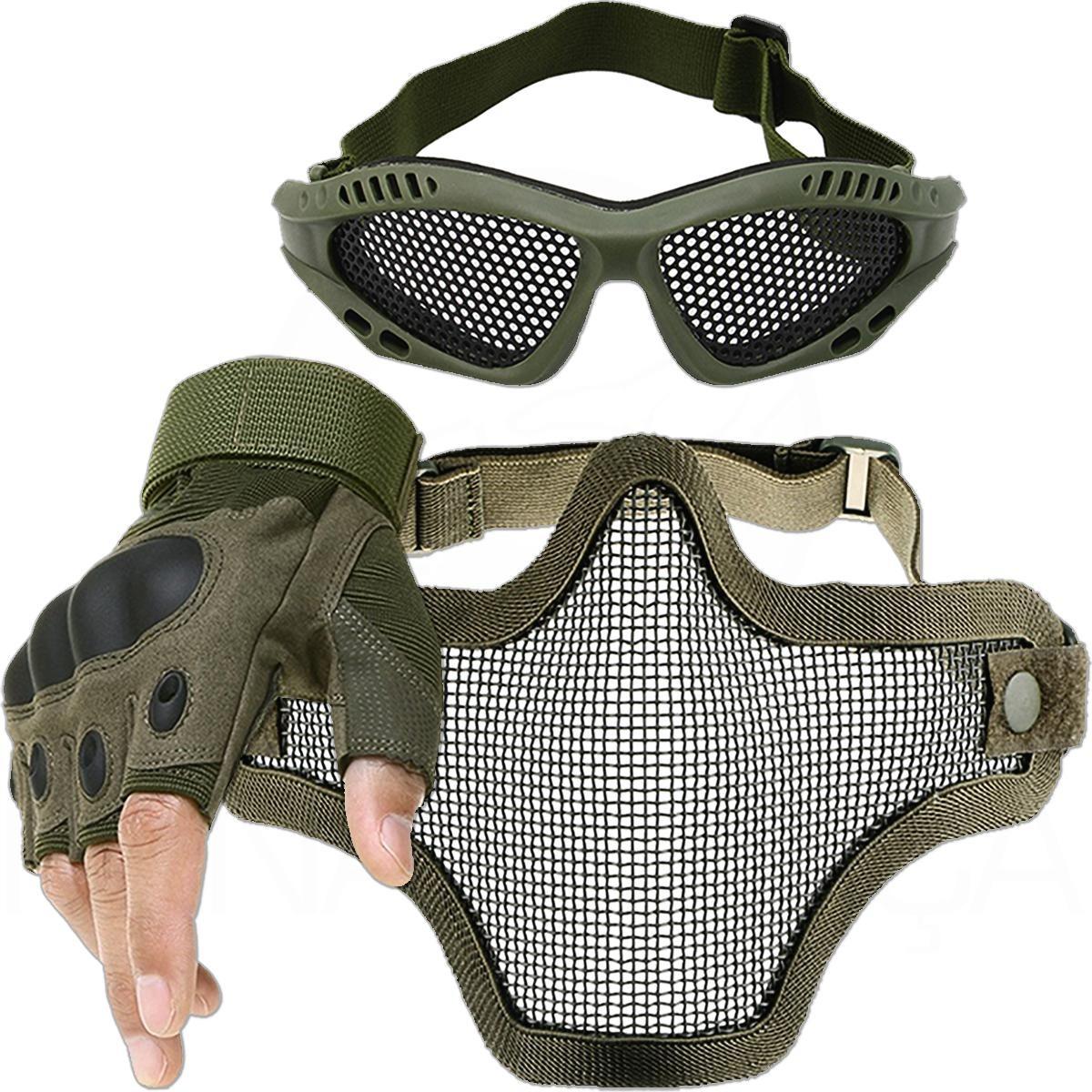 51afe477f kit airsoft luva tática máscara de tela óculos telado erde. Carregando zoom.