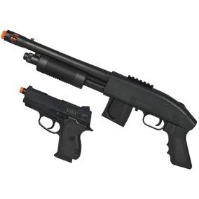 Kit Airsoft Shotgun Mossberg + Pistola Compact 45 Cybergun