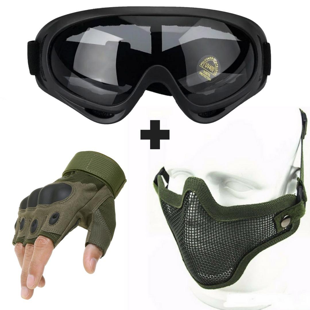 b8e1de2e740b6 kit airsoft tático oculos máscara meia face luva meio dedo. Carregando zoom.