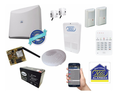 kit alarma casa/comer x-28 4 zonas ctrl sms 8