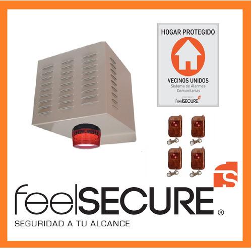 kit alarma comunitaria sirena 4 controles placa disuasiva