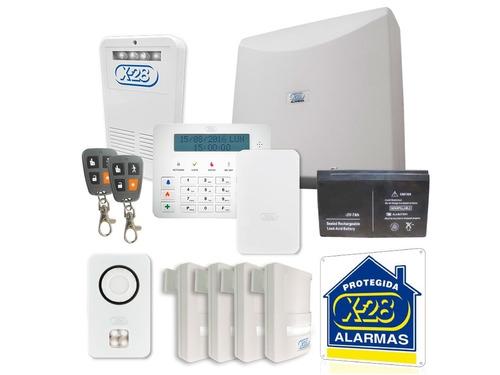 kit alarma domiciliaria x28 full 8 zonas celular luz emer