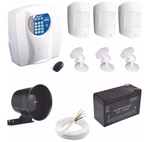 kit alarme central genno com discadora +3 sensores infra