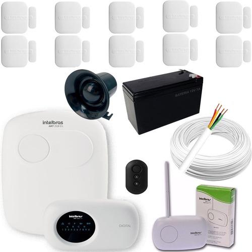 kit alarme intelbras 10 sensores xas 4010 sem fio+amt 2018eg