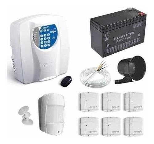 kit alarme residencial c/ 7 sensores + discadora tel fixo