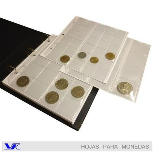 kit album para monedas - 1 carpeta mas 20 hojas  - marca vk