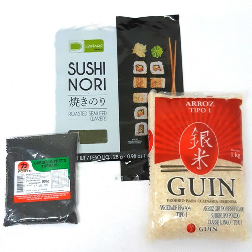kit alga nori c/10 + arroz japonês 1kg + gergelim preto