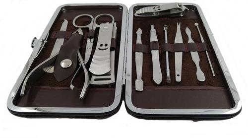 kit alicates aço pedicure manicure 11 peças estojo oferta