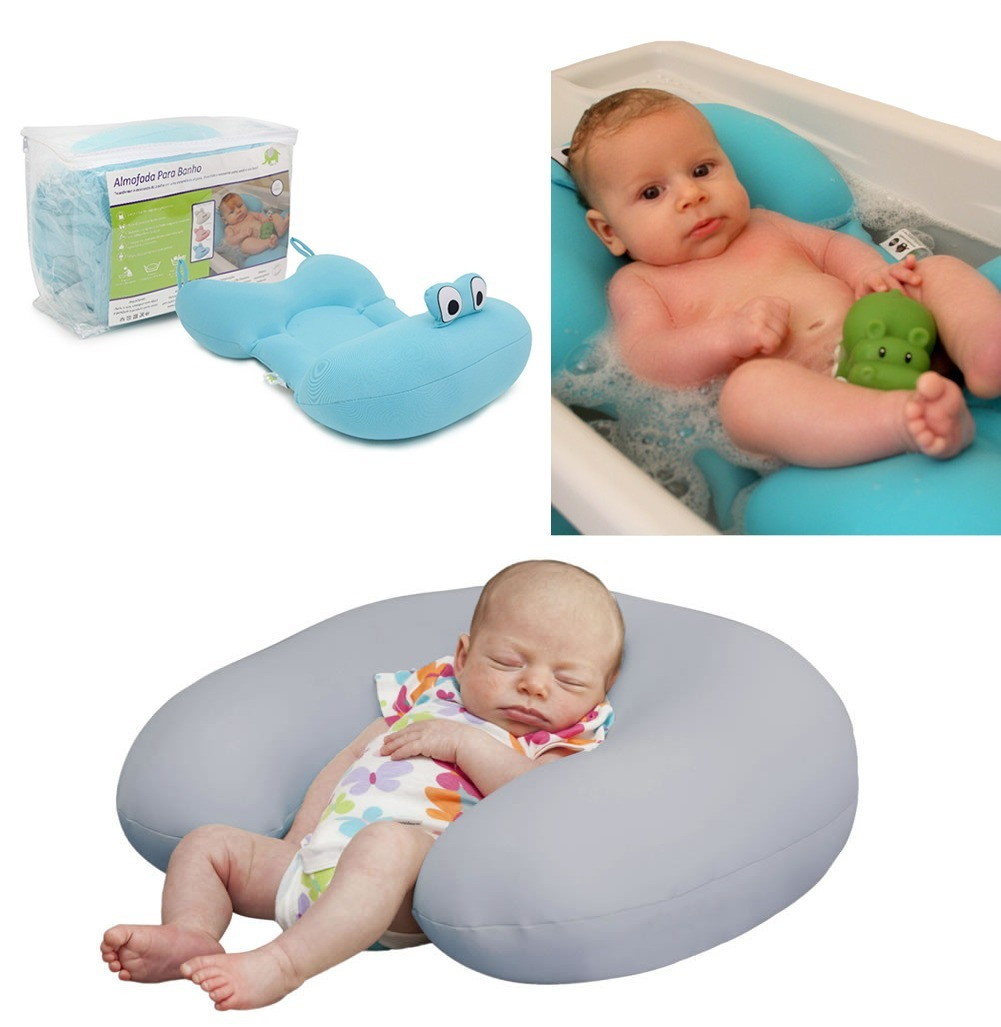 c1457e25b kit almofada para banho azul + amamentação cinza - baby pil. Carregando  zoom.