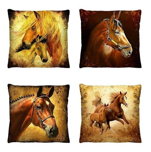 kit almofadas decorativas coleção country cavalos 4 peças