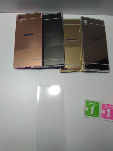 kit  aluminio protector sony xperia xa1 + vidrio curvo
