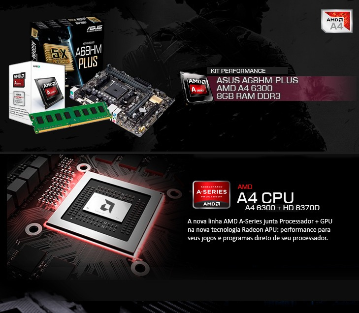 Kit Amd A4 6300 3 7 Ghz, Placa Mãe Asus A68hm-plus, 8gb