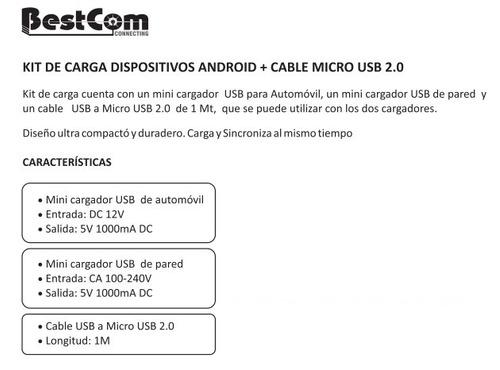 kit americano bestcom android  (cable+clavija+cargador auto)