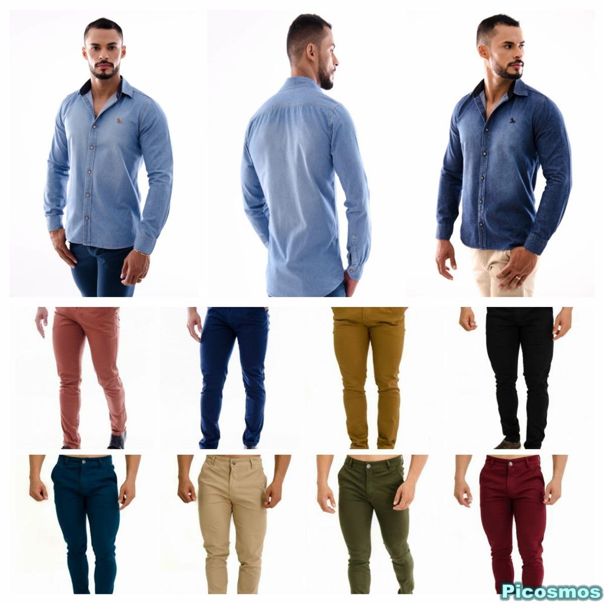 ab769d1cb5 Kit Amil Calça Bolso Embutido + Camisa Mister Jeans Slim - R  179