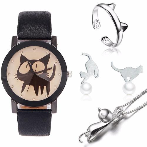 kit amo gatos relógio anel brinco pingente prata esterlina