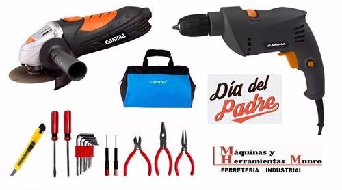 kit amoladora 115 + taladro 10 gamma + bolso de herramientas