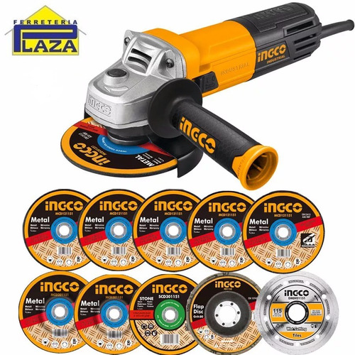kit amoladora ingco industrial 850w +10 discos + lentes